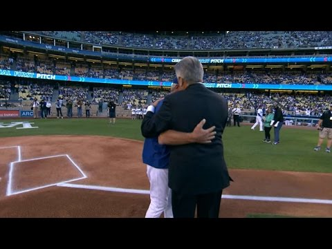 Monday throws out first pitch on anniversary