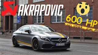 🔥AKRAPOVIC EXHAUST 600HP MERCEDES-AMG C63S COUPE C205 EDITION 1 REVS, LOUD ACCELERATION IN RACIBÓRZ