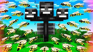 100 WASPS vs WITHER BOSS IN MINECRAFT BATTLE!