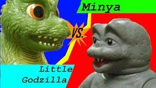 Minya vs. Little Godzilla (stop motion figure battle)