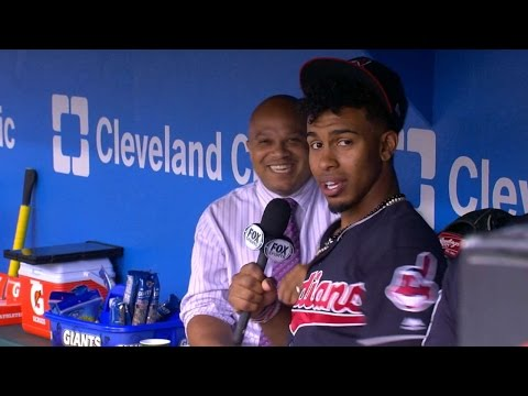 Lindor grabs the mic, has fun prior to game