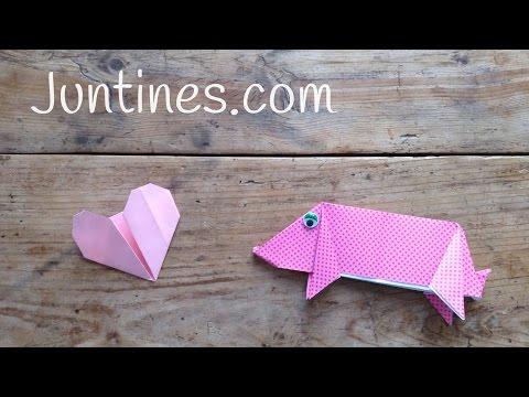 Cerdo de papel, disfruta con el el origami paso a paso.