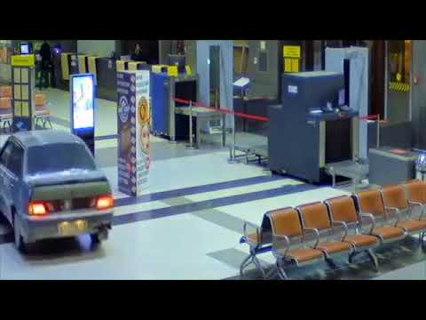 Man drives through airport in Russia