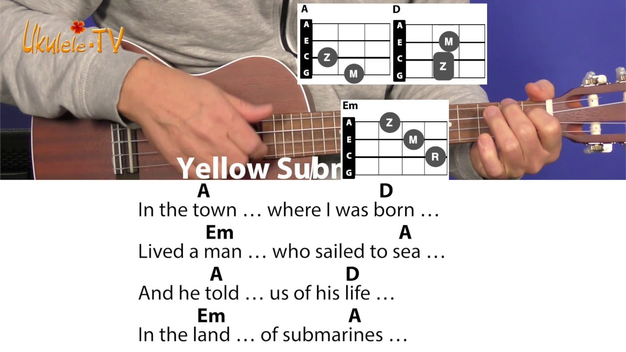 Yellow Submarine - Beatles, Cover, Chords & Lyrics, EASY Ukulele Lesson