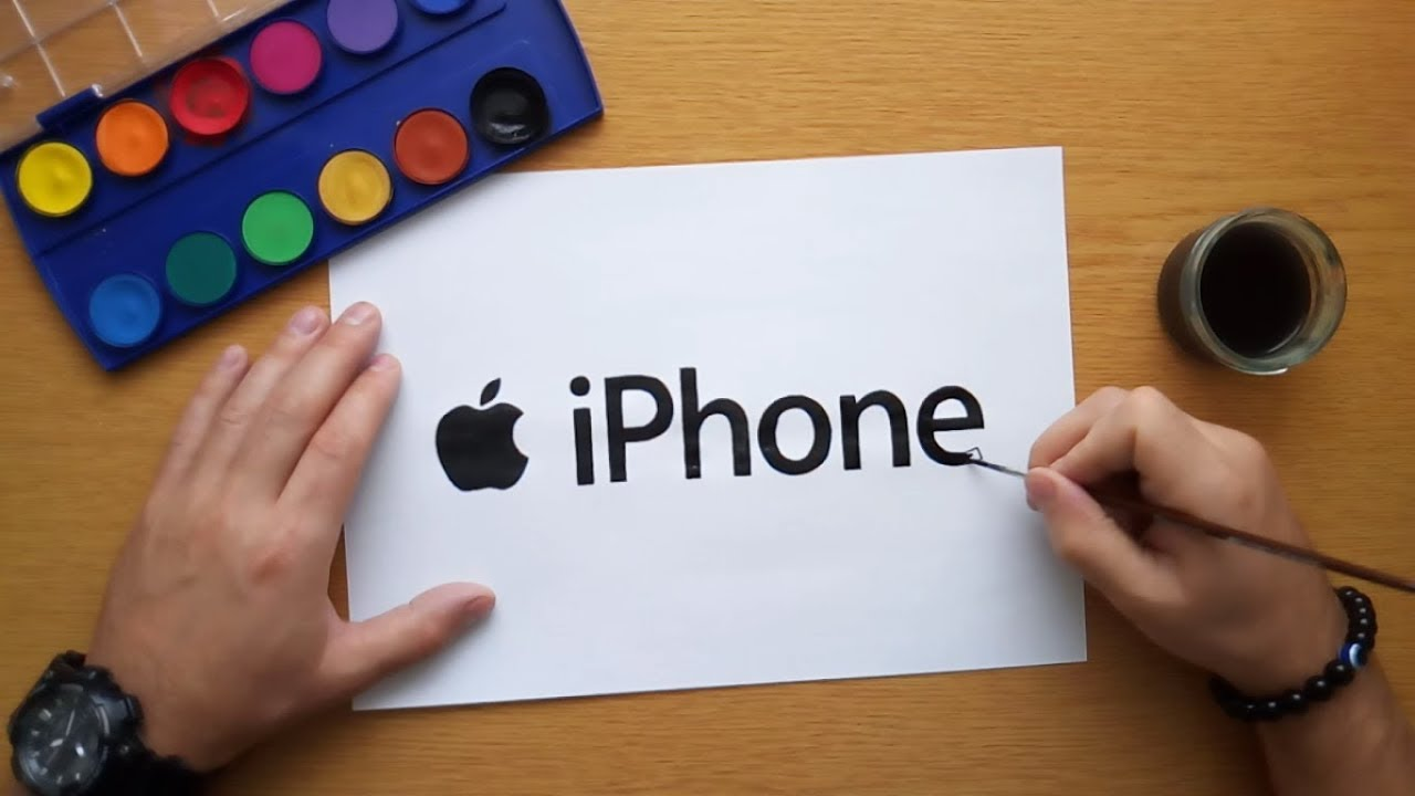 How to draw the iPhone logo (Apple logo drawing) - YouTube