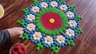 Easy Flower Rangoli | Make simple flower rangoli design