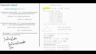 Trigonometric Integrals -  Sin and Cos Strategy Summary