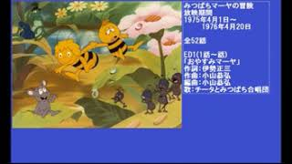Found this on a Japanese video sharing site called Niconico. It's the full opening and closing tracks used for the original Japanese version of Maya the Bee.