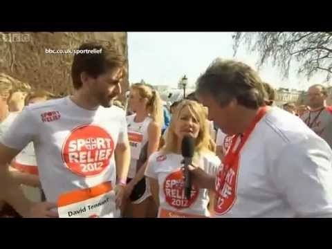 Sarah Hadland and David Tennant interview before they run the sport relief mile - 2012
