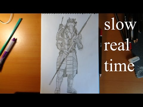 How To Draw Ninja Turtles Donatello From Movie 2014 SLOW REAL TIME