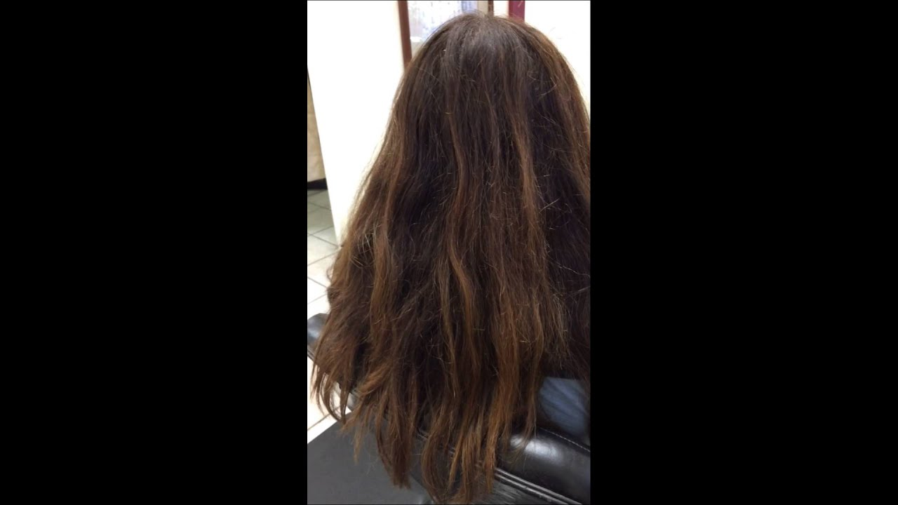 Hair Smoothing On Colored Highlighted Frizzy Hair By May Before