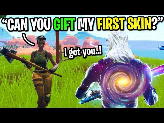 I asked strangers to GIFT me my FIRST SKIN on Fortnite... (I got FREE SKINS!)