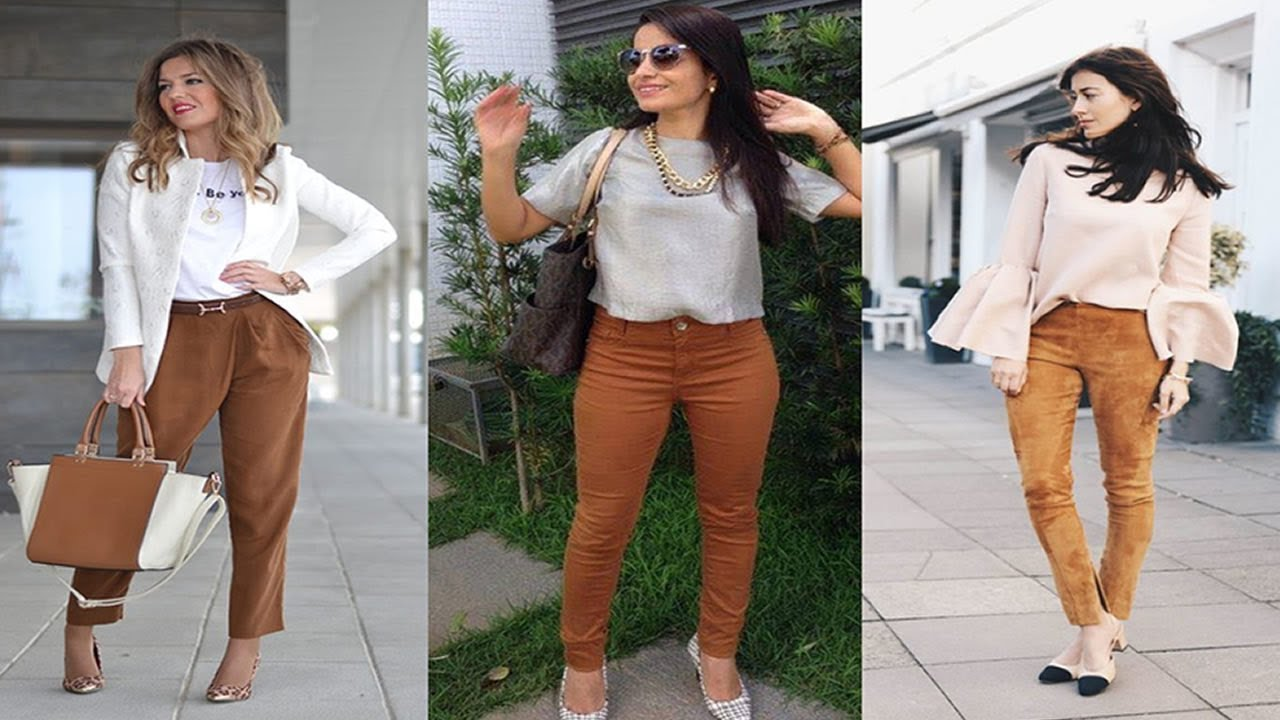 Outfits Con Pantalon De Color Cafe Youtube