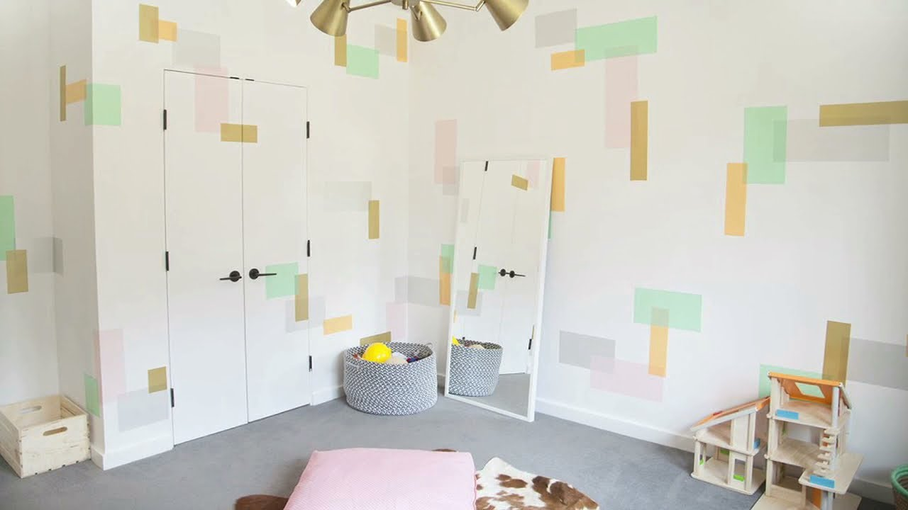 washi tape wall art in the playroom youtube. Black Bedroom Furniture Sets. Home Design Ideas