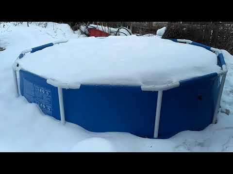 Как убрать каркасный бассейн на зиму видео