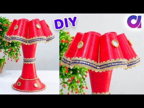 How to make show lamp/table lamp from thermocol glass | Best out of waste | Artkala 536