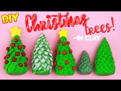 DIY CLAY CHRISTMAS TREES - Easy X-mas Crafts!