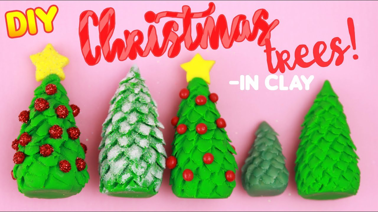 DIY CLAY CHRISTMAS TREES - Easy X-mas Crafts! - YouTube
