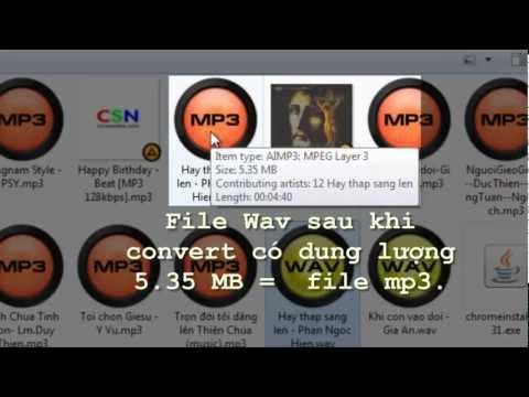 Convert mp3 to Wav with small size - doi duoi mp3 thanh wav khong tang dung luong