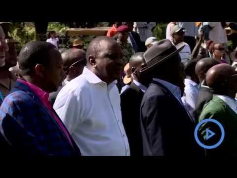 Uhuru Kenyatta and Raila Odinga witness the close of the Kenya open