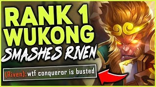 Download #1 WUKONG WORLD SMASHES A CHALLENGER RIVEN! | NEW CONQUEROR WUKONG GAMEPLAY - League of Legends Mp3 and Videos