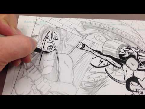 Comic book inking with Artist Shawn Harbin.