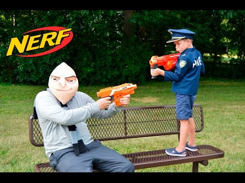 Gru Takes Over the Playground + real lfe Kid Cops Nerf Standoff YouTube Kids Funny Video