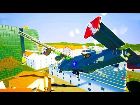 MASSIVE B-24 BOMBER PLANE DESTROYS HOUSES OF BRICKSVILLE! - Brick Rigs Workshop Creations Gameplay
