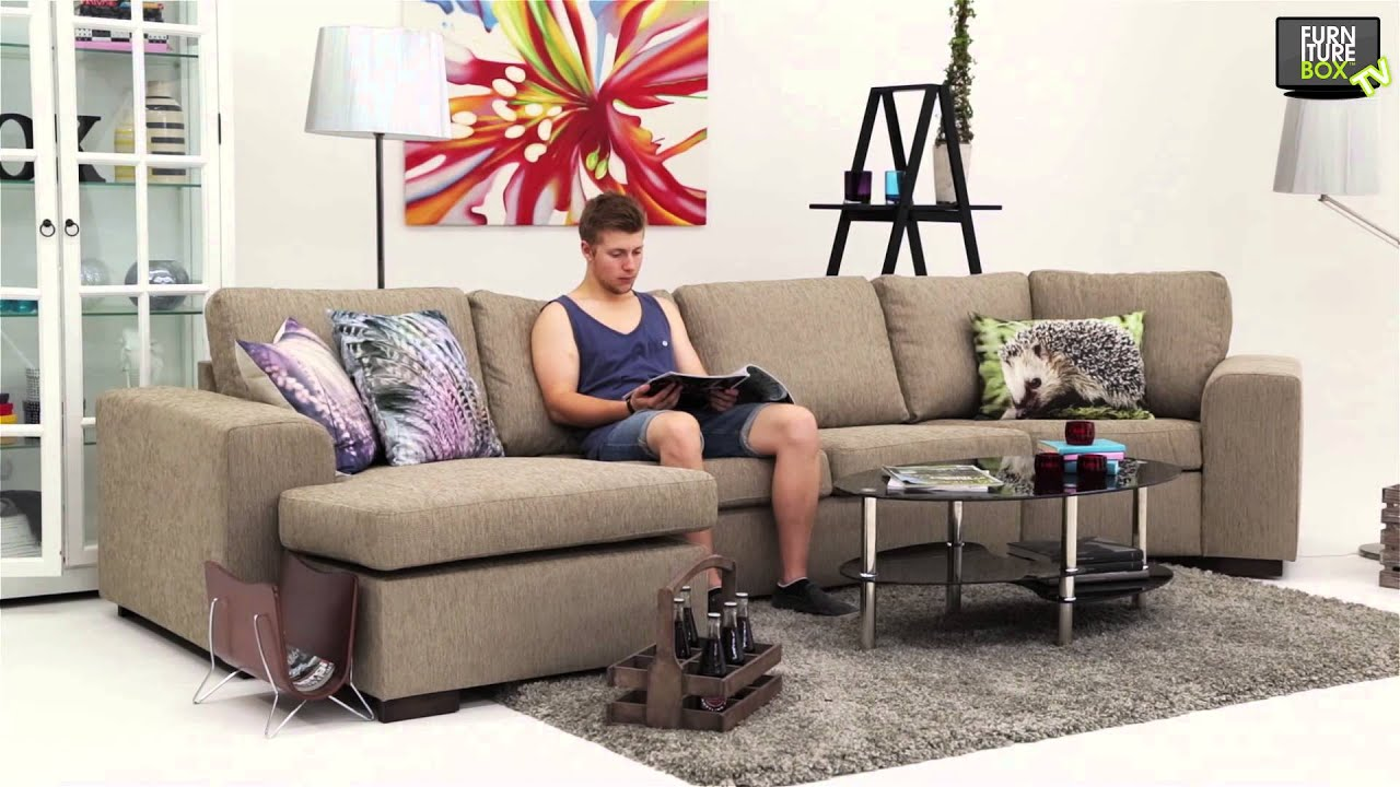 Connect maxihörnsoffa med divan beige furniturebox   youtube
