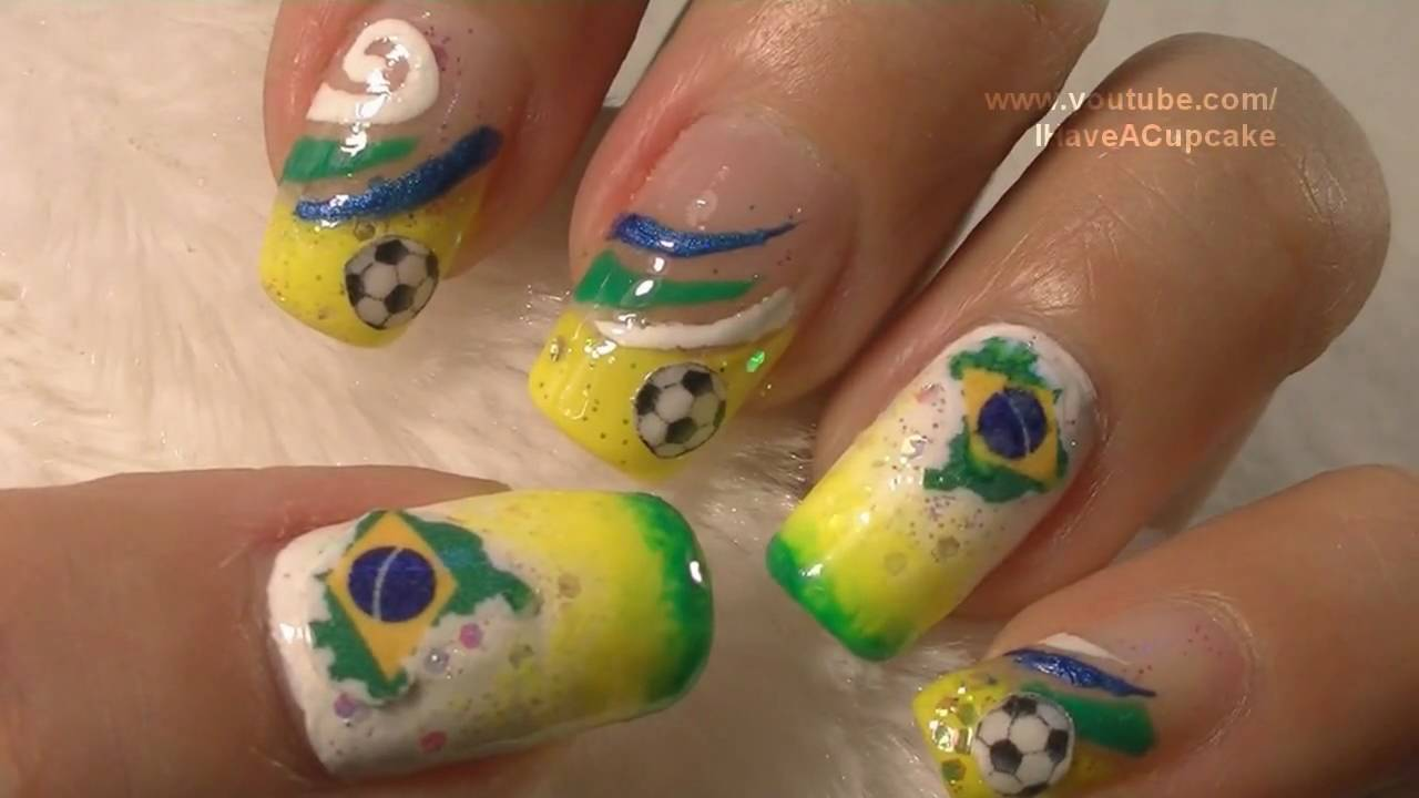 World Cup Brazil Nail Art Tutorial / FIFA Mundial BraZil Arte para ...