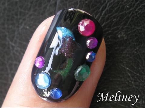smart nails tutorial  black opal dolphin nail art design