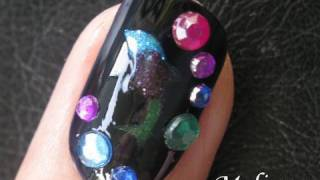 Smart Nails Tutorial - Black Opal Dolphin Nail Art Design For Short Nails Do Your Own Nails At Home