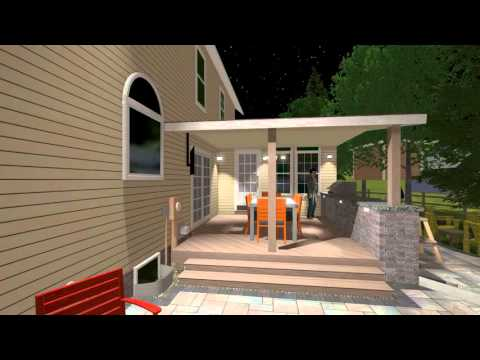 Patio Addition with Covered Deck, Outdoor Kitchen, Spa and Fire Feature