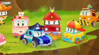 Fire Truck with Police Car Cartoon Rescue Baby Cars from Flood in Car City