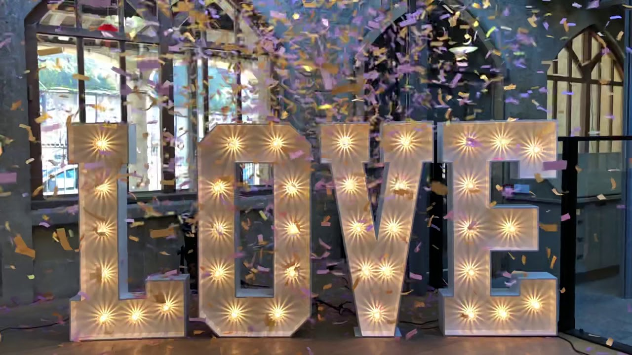"""Large light up letters spelling """"LOVE"""" for hire"""