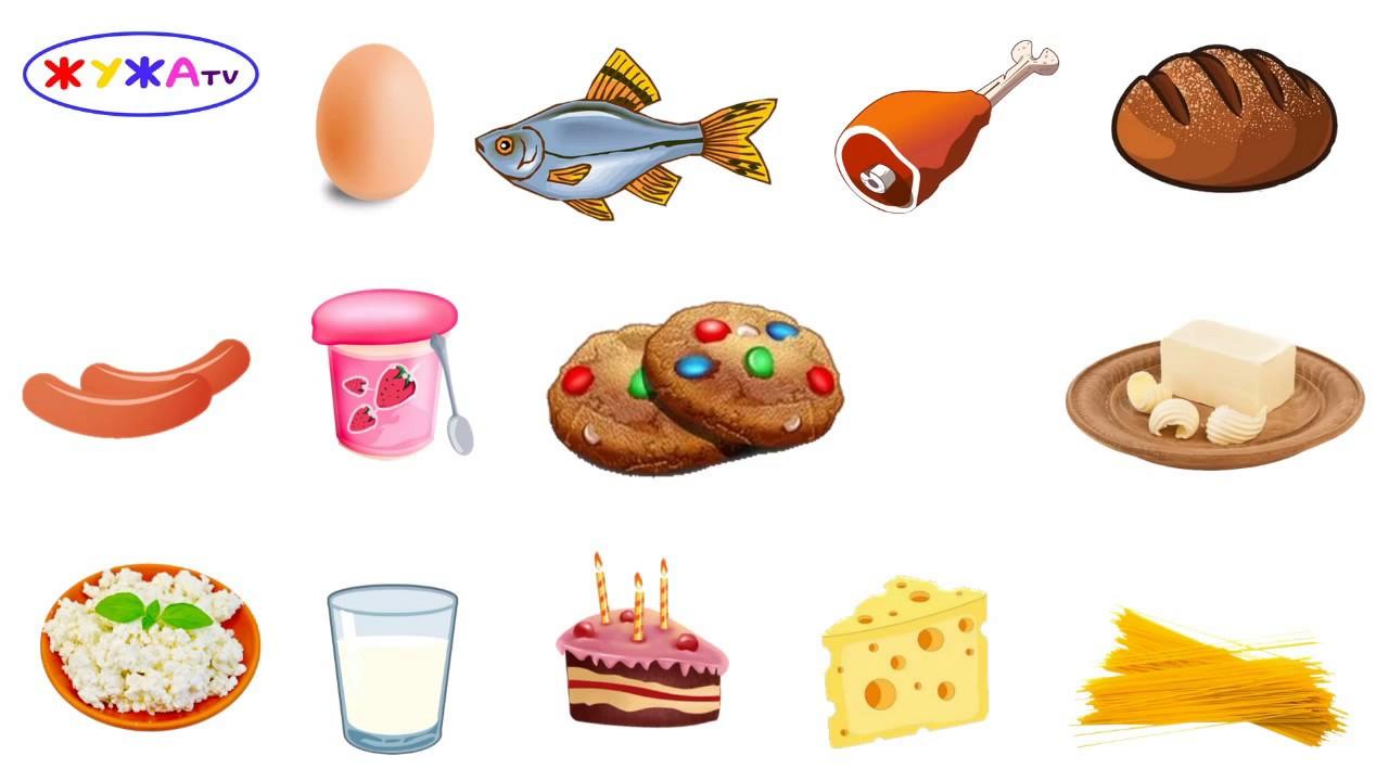 Продукты питания Картинки для детей Развивающий мультик ...