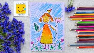 Как нарисовать девочку Флору - урок рисования для детей от 4 лет, пастель,  рисуем дома поэтапно(Дети рисуют пошагово, цветы, птицы, пастель. Подписывайся на Мир Дизайна - https://vk.com/design_is Получи порцию вдохн..., 2016-02-20T13:39:45.000Z)