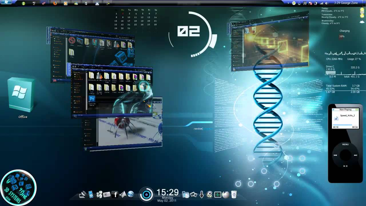 Windows 7 3d fully cuatomized youtube for Fenetre 3d windows 7