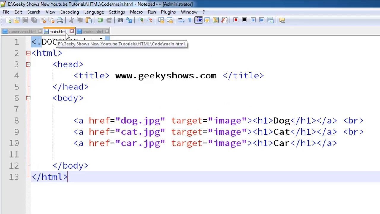 80. frame as Hyperlink target in HTML (Hindi) - YouTube