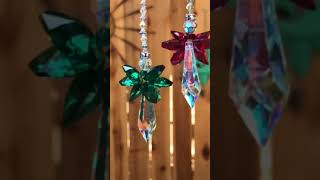 Holly and Ivy Christmas Angel Ornament Rearview Mirror SUNCATCHER