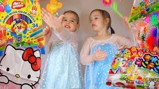 FROZEN Посылка с игрушками и платьем Эльзы Холодное сердце Японские сладости Конструктор снежинки