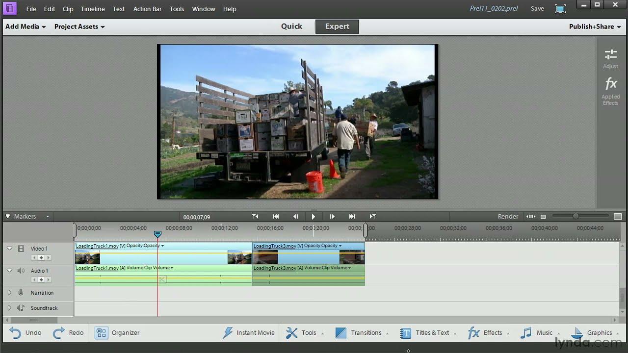 Premiere Elements tutorial: Adding clips, slice, trim, and ripple edits | lynda.com