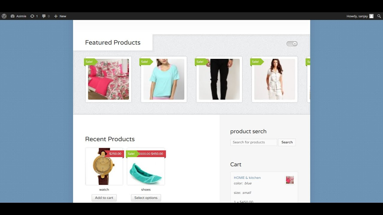 Develop online shopping website