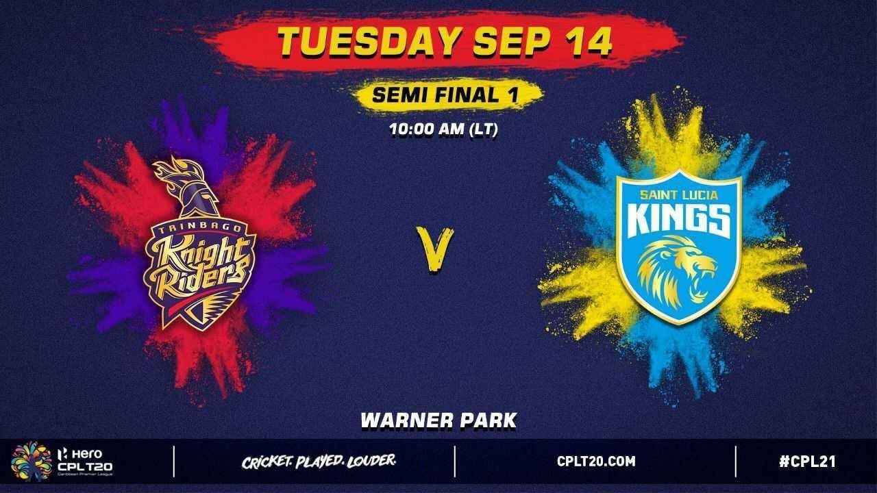 Download LIVE | Semi Final 1 | Trinbago Knight Riders vs St Lucia Kings | CPL 2021
