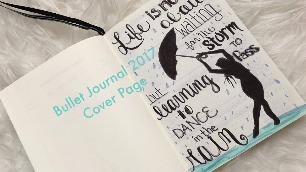 bullet journal setup 2017 cover page hand lettering youtube