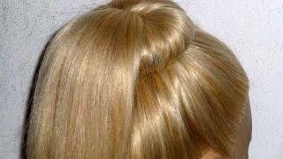 Лёгкая причёска самой себе на каждый день.Пучок из волос.Пучок с бубликом и хвостиком внутри(Высокий, простой, быстрый и модный пучок из волос. Причёски своими руками. Причёска