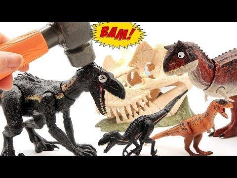 Dinosaur Transformer Big & Small Dinosaurs! Magic Hammer Fun Video For Kids~  Dinosaur Eggs Toys