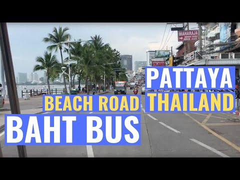 Pattaya Beach Road with Baht taxi from Holiday Inn Hotel to Walking street Pattaya 2018 daytime