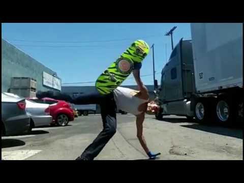 Paulo Diaz Skating in L.A 2017 - Chainsaw handplant varial
