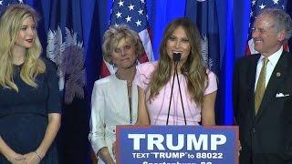 Donald Trump's wife Melania addresses crowd